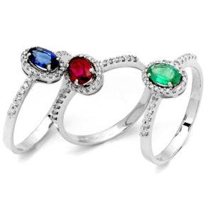 insieme fantasia anelli in oro Colori Preziosi