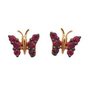 orecchini farfallina rubino